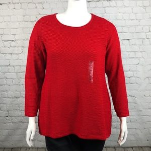 Charter Club Red Long Sleeve Sweater Plus Size 1X